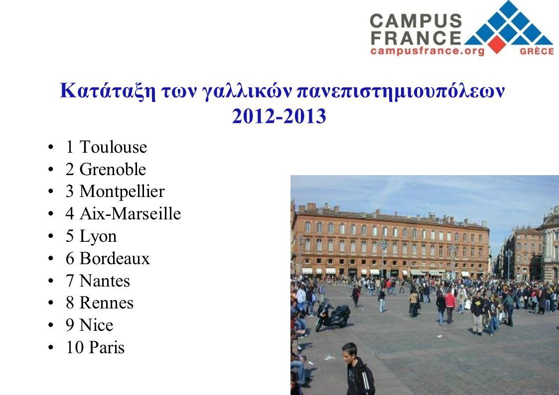 Κατάταξη των γαλλικών πανεπιστημιουπόλεων 2012-2013 1 Toulouse 2 Grenoble 3 Montpellier 4 Aix-Marseille 5 Lyon 6 Bordeaux 7 Nantes 8 Rennes 9 Nice 10 Paris