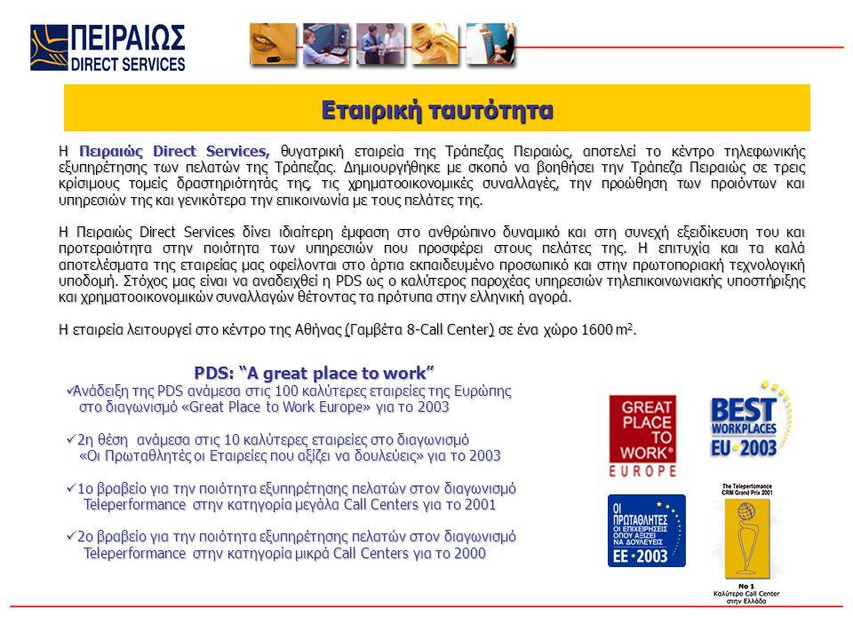 Εταιρική ταυτότητα Εταιρική ταυτότητα Η Πειραιώς Direct Services, θυγατρική εταιρεία της Τράπεζας Πειραιώς, αποτελεί το κέντρο τηλεφωνικής εξυπηρέτησης των πελατών της Τράπεζας.