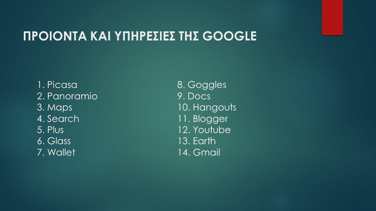 ΠΡΟΙΟΝΤΑ ΚΑΙ ΥΠΗΡΕΣΙΕΣ ΤΗΣ GOOGLE 1. Picasa 2. Panoramio 3. Maps 4. Search 5. Plus 6. Glass 7. Wallet 8. Goggles 9. Docs 10. Hangouts 11. Blogger 12.