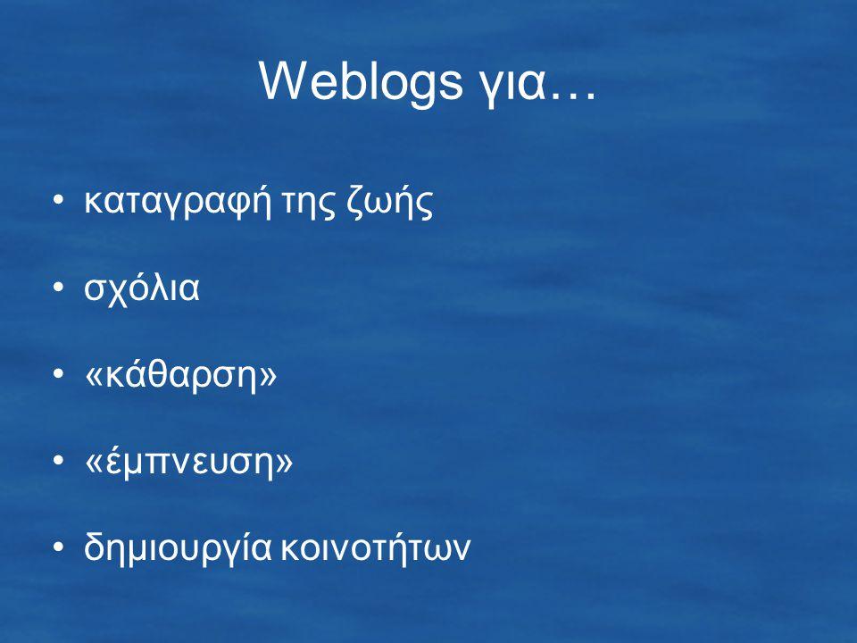 Weblogs για… καταγραφή της ζωής σχόλια «κάθαρση» «έμπνευση» δημιουργία κοινοτήτων