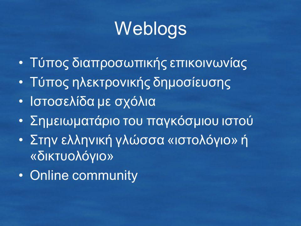 Weblogs Τύπος διαπροσωπικής επικοινωνίας Τύπος ηλεκτρονικής δημοσίευσης Ιστοσελίδα με σχόλια Σημειωματάριο του παγκόσμιου ιστού Στην ελληνική γλώσσα «ιστολόγιο» ή «δικτυολόγιο» Online community
