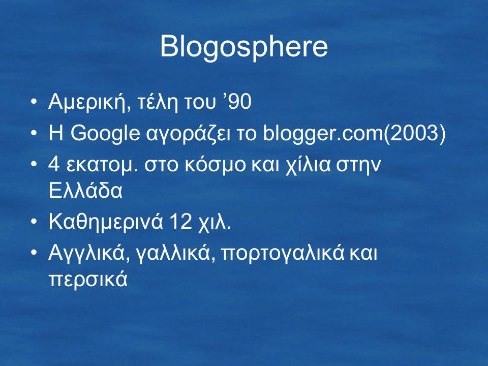 Blogosphere Αμερική, τέλη του '90 Η Google αγοράζει το blogger.com(2003) 4 εκατομ.