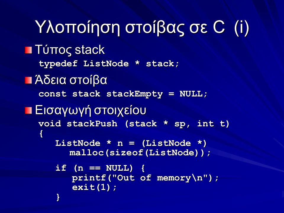 Υλοποίηση στοίβας σε C(i) Τύπος stack typedef ListNode * stack; Άδεια στοίβα const stack stackEmpty = NULL; Εισαγωγή στοιχείου void stackPush (stack * sp, int t) { ListNode * n = (ListNode *) malloc(sizeof(ListNode)); ListNode * n = (ListNode *) malloc(sizeof(ListNode)); if (n == NULL) { if (n == NULL) { printf( Out of memory\n ); printf( Out of memory\n ); exit(1); exit(1); }