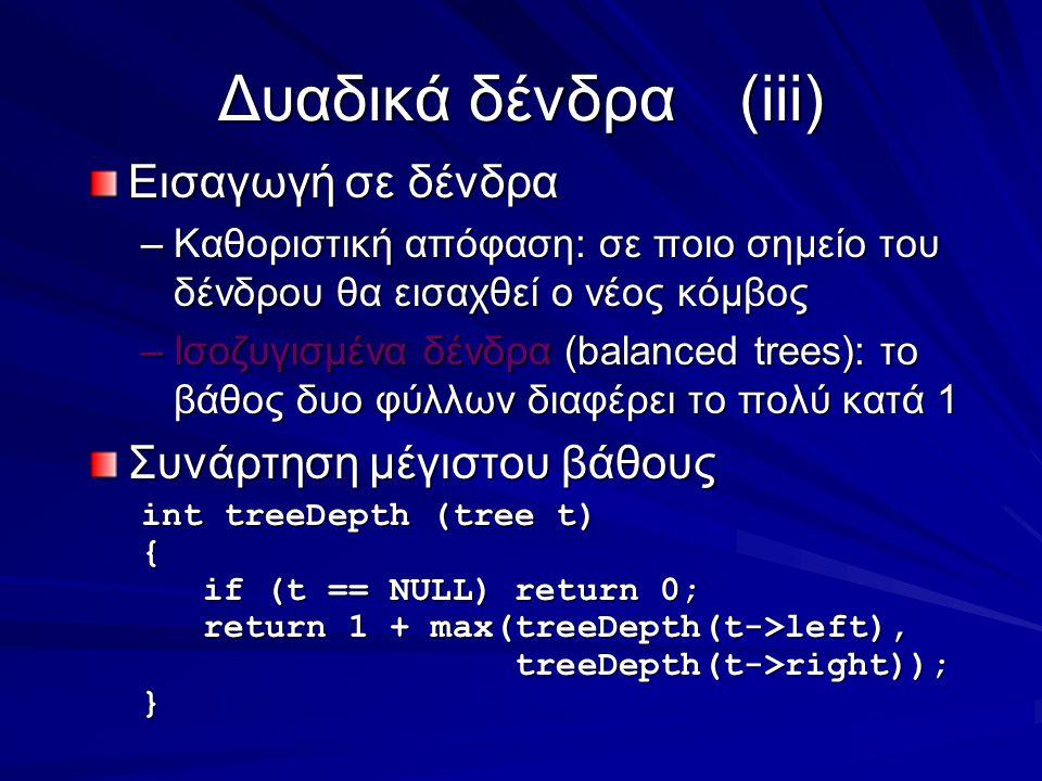 Δυαδικά δένδρα(iii) Εισαγωγή σε δένδρα –Καθοριστική απόφαση: σε ποιο σημείο του δένδρου θα εισαχθεί ο νέος κόμβος –Ισοζυγισμένα δένδρα (balanced trees): το βάθος δυο φύλλων διαφέρει το πολύ κατά 1 Συνάρτηση μέγιστου βάθους int treeDepth (tree t) { if (t == NULL) return 0; if (t == NULL) return 0; return 1 + max(treeDepth(t->left), return 1 + max(treeDepth(t->left), treeDepth(t->right)); treeDepth(t->right));}