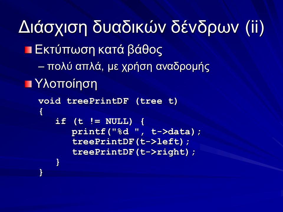 Διάσχιση δυαδικών δένδρων(ii) Εκτύπωση κατά βάθος –πολύ απλά, με χρήση αναδρομής Υλοποίηση void treePrintDF (tree t) { if (t != NULL) { if (t != NULL) { printf( %d , t->data); printf( %d , t->data); treePrintDF(t->left); treePrintDF(t->left); treePrintDF(t->right); treePrintDF(t->right); }}