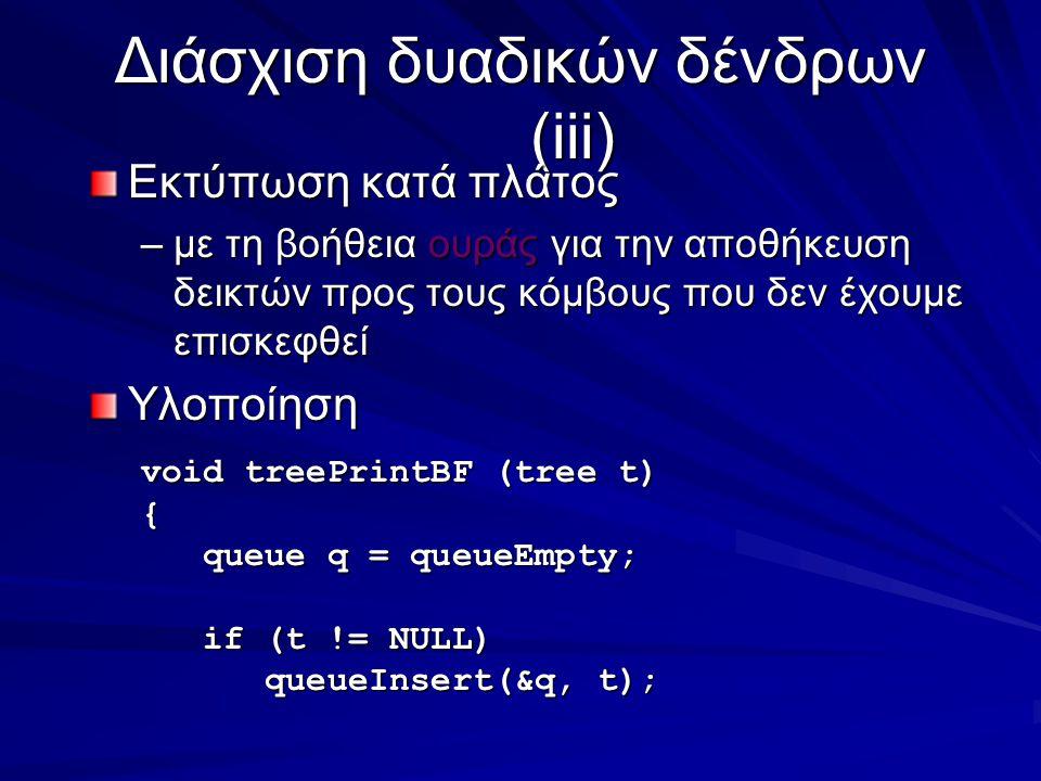 Διάσχιση δυαδικών δένδρων (iii) Εκτύπωση κατά πλάτος –με τη βοήθεια ουράς για την αποθήκευση δεικτών προς τους κόμβους που δεν έχουμε επισκεφθεί Υλοποίηση void treePrintBF (tree t) { queue q = queueEmpty; queue q = queueEmpty; if (t != NULL) if (t != NULL) queueInsert(&q, t); queueInsert(&q, t);