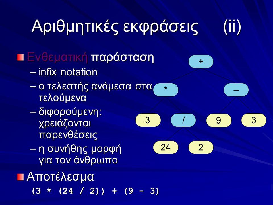 Αριθμητικές εκφράσεις(ii) Ενθεματική παράσταση –infix notation –ο τελεστής ανάμεσα στα τελούμενα –διφορούμενη: χρειάζονται παρενθέσεις –η συνήθης μορφή για τον άνθρωπο Αποτέλεσμα (3 * (24 / 2)) + (9 - 3) + *– 33 224 / 9
