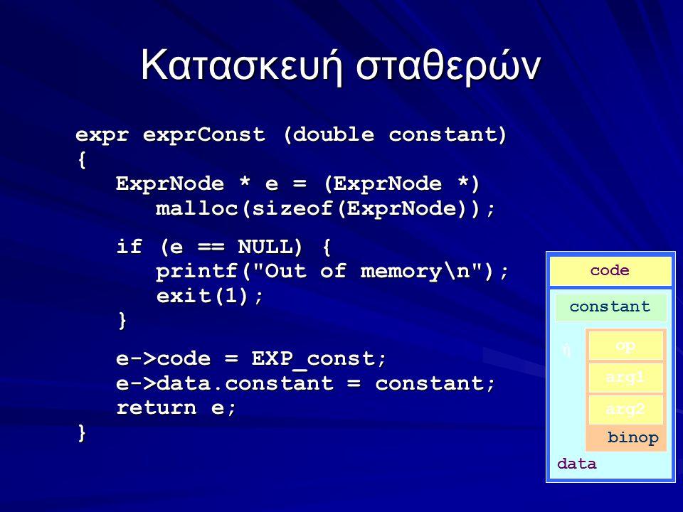 Κατασκευή σταθερών expr exprConst (double constant) { ExprNode * e = (ExprNode *) ExprNode * e = (ExprNode *) malloc(sizeof(ExprNode)); malloc(sizeof(ExprNode)); if (e == NULL) { if (e == NULL) { printf( Out of memory\n ); printf( Out of memory\n ); exit(1); exit(1); } e->code = EXP_const; e->code = EXP_const; e->data.constant = constant; e->data.constant = constant; return e; return e;} code data constant ή binop op arg1 arg2