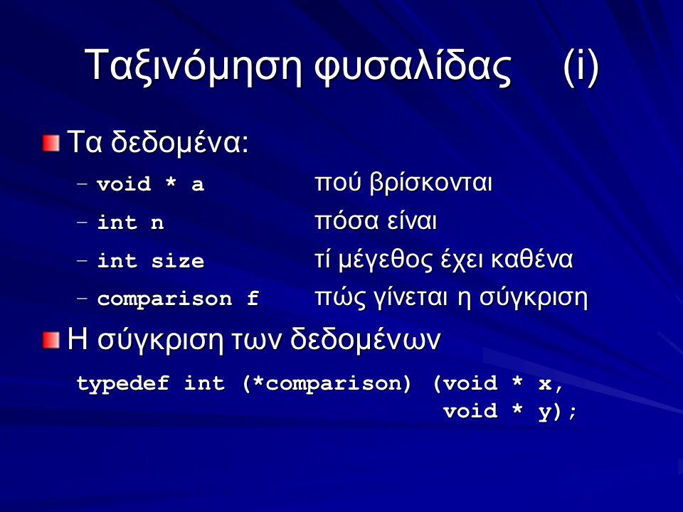 Ταξινόμηση φυσαλίδας(i) Τα δεδομένα: –void * a πού βρίσκονται –int n πόσα είναι –int size τί μέγεθος έχει καθένα –comparison f πώς γίνεται η σύγκριση Η σύγκριση των δεδομένων typedef int (*comparison) (void * x, void * y); void * y);