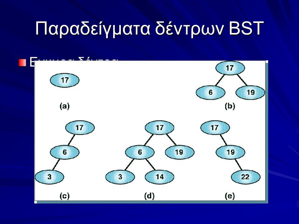 Παραδείγματα δέντρων BST Εγκυρα δέντρα