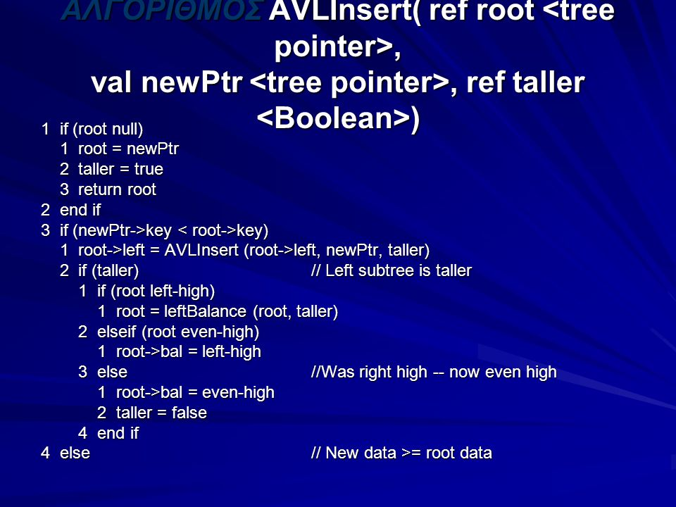 ΑΛΓΟΡΙΘΜΟΣ AVLInsert( ref root, val newPtr, ref taller ) 1 if (root null) 1 root = newPtr 1 root = newPtr 2 taller = true 2 taller = true 3 return root 3 return root 2 end if 3 if (newPtr->key key) 1 root->left = AVLInsert (root->left, newPtr, taller) 1 root->left = AVLInsert (root->left, newPtr, taller) 2 if (taller) // Left subtree is taller 2 if (taller) // Left subtree is taller 1 if (root left-high) 1 if (root left-high) 1 root = leftBalance (root, taller) 1 root = leftBalance (root, taller) 2 elseif (root even-high) 2 elseif (root even-high) 1 root->bal = left-high 1 root->bal = left-high 3 else //Was right high -- now even high 3 else //Was right high -- now even high 1 root->bal = even-high 1 root->bal = even-high 2 taller = false 2 taller = false 4 end if 4 end if 4 else// New data >= root data