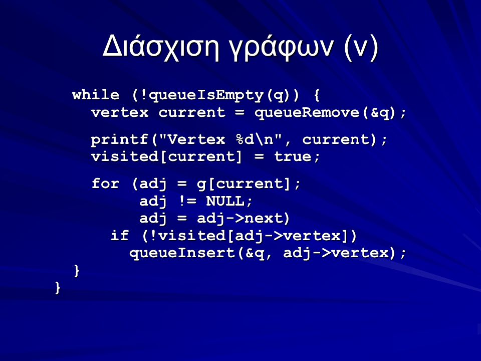 Διάσχιση γράφων(v) while (!queueIsEmpty(q)) { while (!queueIsEmpty(q)) { vertex current = queueRemove(&q); vertex current = queueRemove(&q); printf( Vertex %d\n , current); printf( Vertex %d\n , current); visited[current] = true; visited[current] = true; for (adj = g[current]; for (adj = g[current]; adj != NULL; adj != NULL; adj = adj->next) adj = adj->next) if (!visited[adj->vertex]) if (!visited[adj->vertex]) queueInsert(&q, adj->vertex); queueInsert(&q, adj->vertex); }}