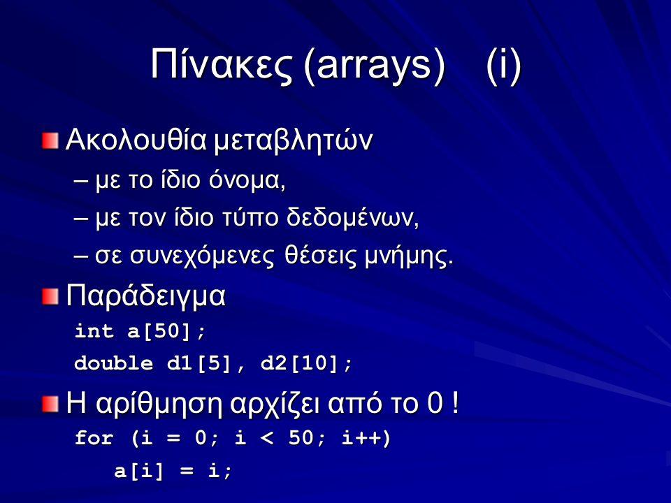 Πίνακες (arrays)(i) Ακολουθία μεταβλητών –με το ίδιο όνομα, –με τον ίδιο τύπο δεδομένων, –σε συνεχόμενες θέσεις μνήμης.