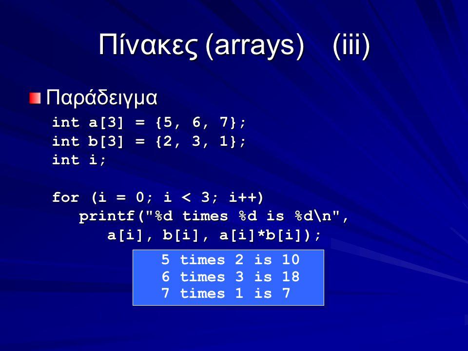 Πίνακες (arrays)(iii) Παράδειγμα int a[3] = {5, 6, 7}; int b[3] = {2, 3, 1}; int i; for (i = 0; i < 3; i++) printf( %d times %d is %d\n , printf( %d times %d is %d\n , a[i], b[i], a[i]*b[i]); a[i], b[i], a[i]*b[i]); 5 times 2 is 10 6 times 3 is 18 7 times 1 is 7 5 times 2 is 10 6 times 3 is 18 7 times 1 is 7