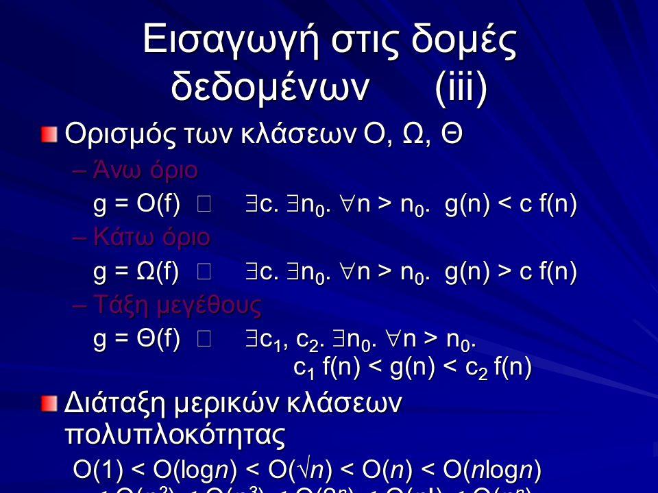 Εισαγωγή στις δομές δεδομένων(iii) Ορισμός των κλάσεων Ο, Ω, Θ –Άνω όριο g = O(f)  c.