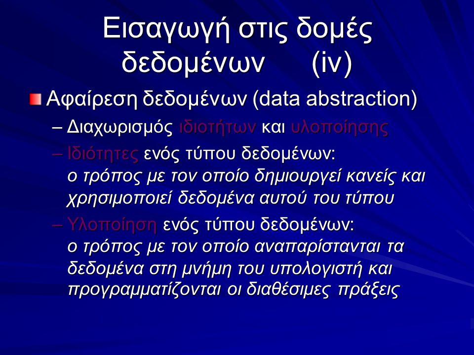 Εισαγωγή στις δομές δεδομένων(iv) Αφαίρεση δεδομένων (data abstraction) –Διαχωρισμός ιδιοτήτων και υλοποίησης –Ιδιότητες ενός τύπου δεδομένων: ο τρόπος με τον οποίο δημιουργεί κανείς και χρησιμοποιεί δεδομένα αυτού του τύπου –Υλοποίηση ενός τύπου δεδομένων: ο τρόπος με τον οποίο αναπαρίστανται τα δεδομένα στη μνήμη του υπολογιστή και προγραμματίζονται οι διαθέσιμες πράξεις