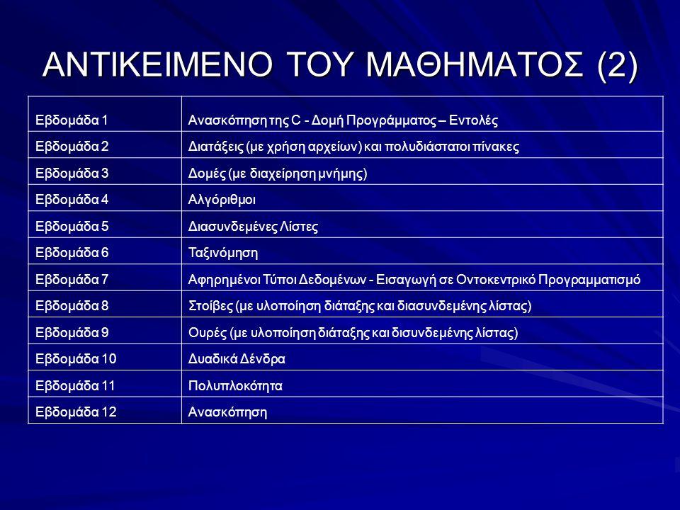 ΣΤΟΙΧΕΙΑ ΓΙΑ ΤΟ ΜΑΘΗΜΑ (1) Το πρόγραμμα: –Διαλέξεις (Στό Ξύλινο) Πέμπτη 10:00 – 12:00 Παρασκευή 15:00 – 16:00 Πέμπτη 12:00 – 13:00 (Ώρα γραφείου) –Φροντιστήριο (Στό Ξύλινο) Παρασκευή 16:00 – 17:00 –Εργαστήρια (Στό Μηχανογραφικό Κέντρο) Τρίτη 17:00 – 19:00 Τετάρτη 17:00 – 19:00