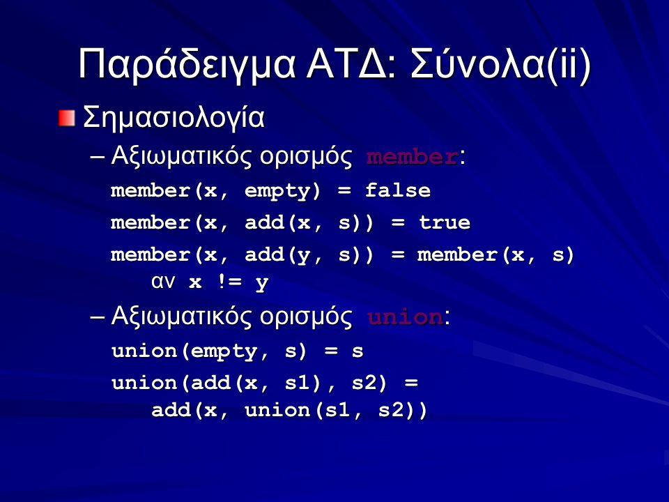 Παράδειγμα ΑΤΔ: Σύνολα(ii) Σημασιολογία –Αξιωματικός ορισμός member : member(x, empty) = false member(x, add(x, s)) = true member(x, add(y, s)) = member(x, s) αν x != y –Αξιωματικός ορισμός union : union(empty, s) = s union(add(x, s1), s2) = add(x, union(s1, s2))