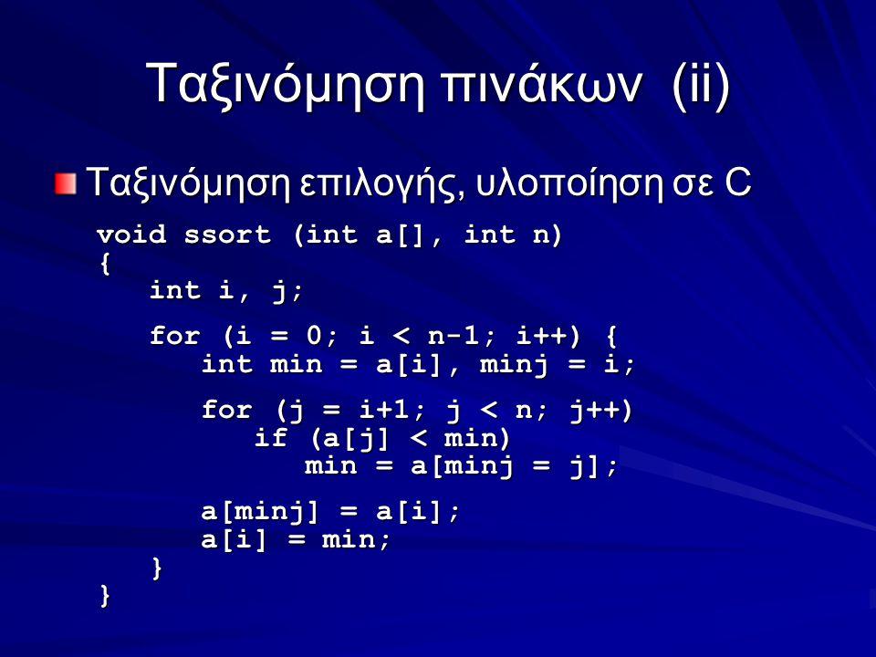 Ταξινόμηση πινάκων(ii) Ταξινόμηση επιλογής, υλοποίηση σε C void ssort (int a[], int n) { int i, j; int i, j; for (i = 0; i < n-1; i++) { for (i = 0; i < n-1; i++) { int min = a[i], minj = i; int min = a[i], minj = i; for (j = i+1; j < n; j++) for (j = i+1; j < n; j++) if (a[j] < min) if (a[j] < min) min = a[minj = j]; min = a[minj = j]; a[minj] = a[i]; a[minj] = a[i]; a[i] = min; a[i] = min; }}
