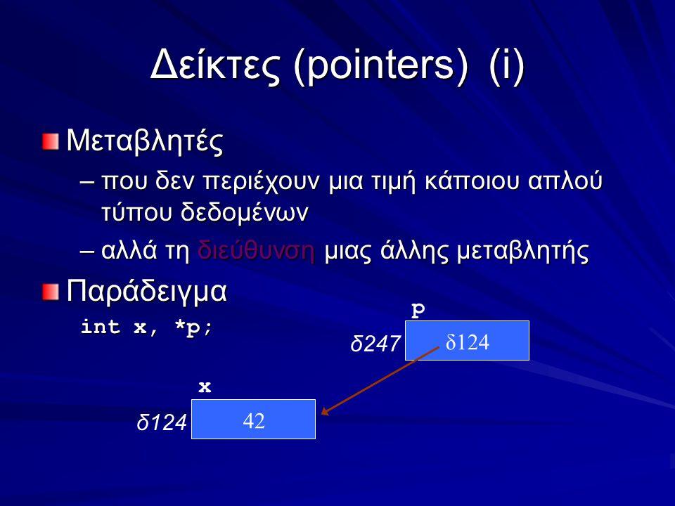 Δείκτες (pointers)(i) Μεταβλητές –που δεν περιέχουν μια τιμή κάποιου απλού τύπου δεδομένων –αλλά τη διεύθυνση μιας άλλης μεταβλητής Παράδειγμα int x, *p; x δ124 p δ247 42 δ124