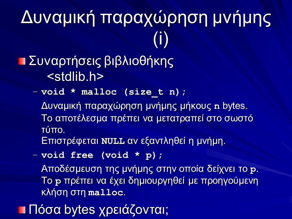 Δυναμική παραχώρηση μνήμης (i) Συναρτήσεις βιβλιοθήκης Συναρτήσεις βιβλιοθήκης –void * malloc (size_t n); Δυναμική παραχώρηση μνήμης μήκους n bytes.