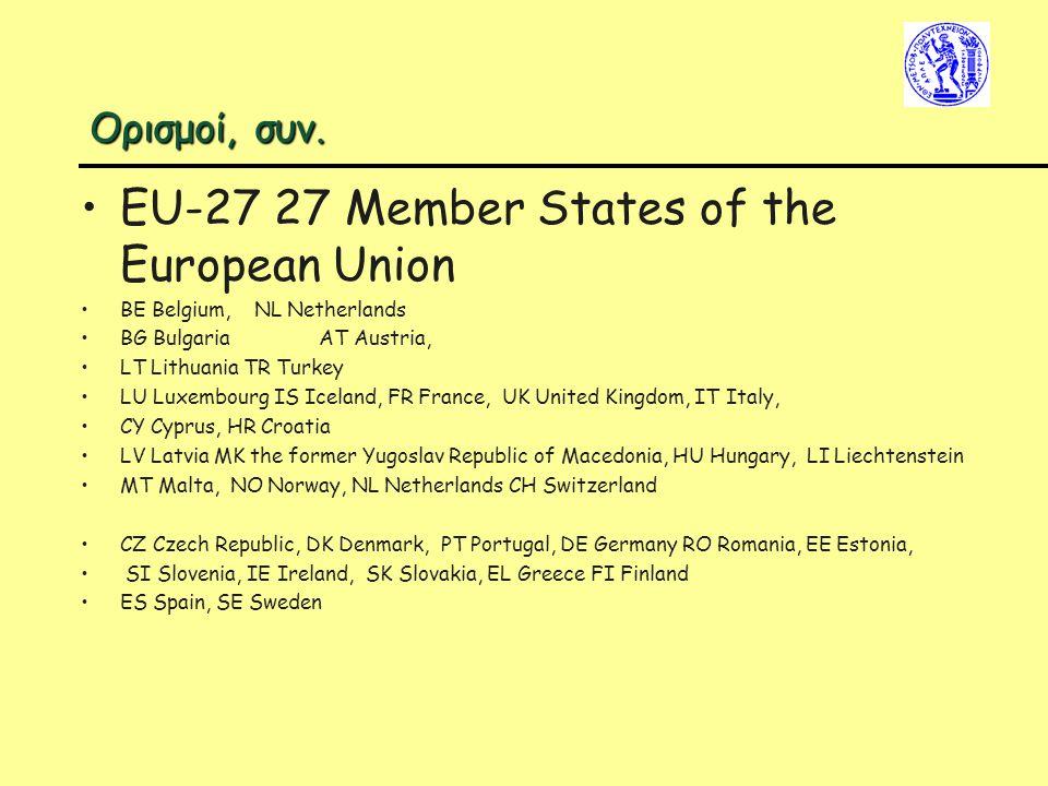 Ορισμοί, συν. EU-27 27 Member States of the European Union BE Belgium, NL Netherlands BG Bulgaria AT Austria, LT Lithuania TR Turkey LU Luxembourg IS