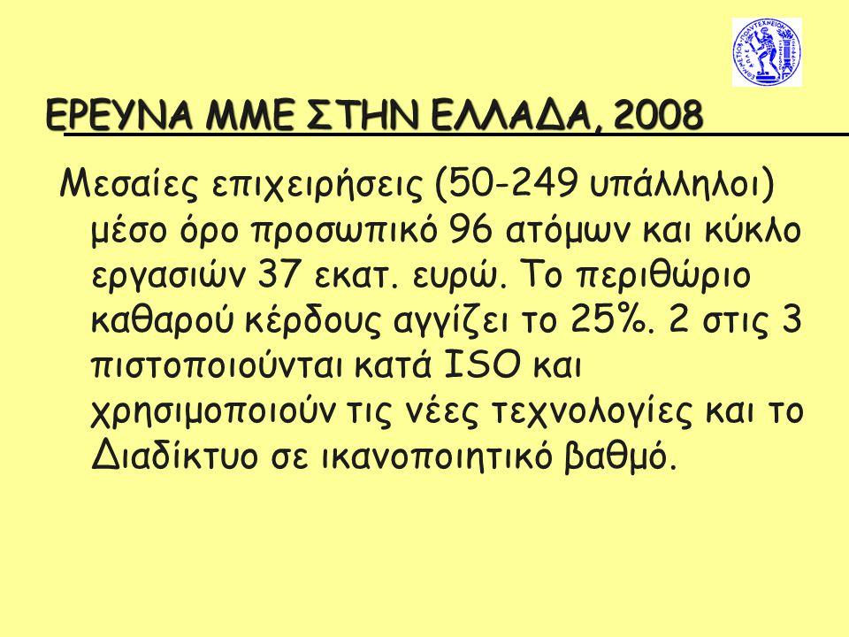 EΡΕΥΝΑ ΜΜΕ ΣΤΗΝ ΕΛΛΑΔΑ, 2008 Μεσαίες επιχειρήσεις (50-249 υπάλληλοι) μέσο όρο προσωπικό 96 ατόμων και κύκλο εργασιών 37 εκατ. ευρώ. Το περιθώριο καθαρ