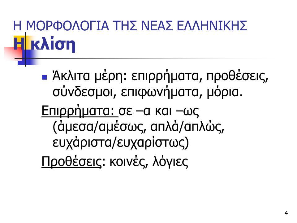 15 Συνηθισμένα μορφοσυντακτικά λάθη των μη ελληνόγλωσσων μαθητών (ΠΣ 2011) στη συμφωνία γένους: το σκολείο μου είναι πολή όμορφη στη συμφωνία αριθμού: μου αρεσουν η ταξη, μεσα υπαρχει καρεκλαις στη συμφωνία πτώσης: έχουμε έναν μεγάλο πίνακας στην έγκλιση: μπορείς κάνεις, Ελπίζω έρθεις στη συμφωνία προσώπου: οταν μεγαλοσης να μπορή (να μπορείς)
