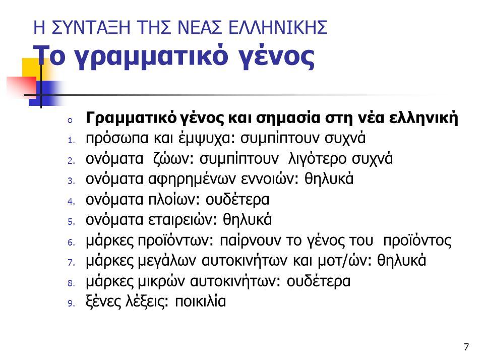 7 Η ΣΥΝΤΑΞΗ ΤΗΣ ΝΕΑΣ ΕΛΛΗΝΙΚΗΣ Το γραμματικό γένος o Γραμματικό γένος και σημασία στη νέα ελληνική 1. πρόσωπα και έμψυχα: συμπίπτουν συχνά 2. ονόματα
