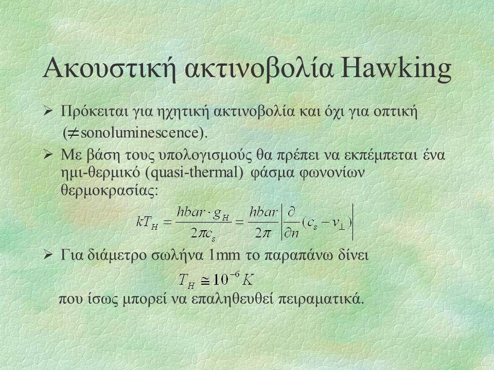 Ακουστική ακτινοβολία Hawking  Πρόκειται για ηχητική ακτινοβολία και όχι για οπτική ( sonoluminescence).  Με βάση τους υπολογισμούς θα πρέπει να εκπ