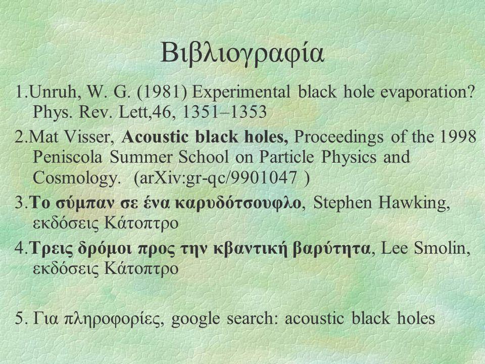 Βιβλιογραφία 1.Unruh, W. G. (1981) Experimental black hole evaporation? Phys. Rev. Lett,46, 1351–1353 2.Mat Visser, Acoustic black holes, Proceedings