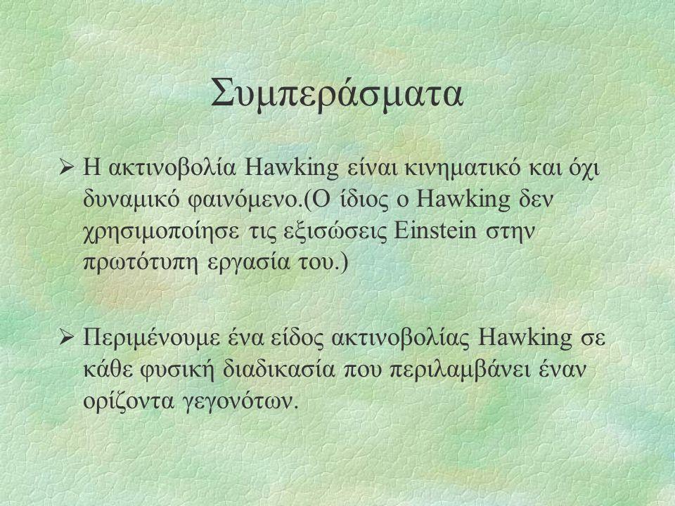 Συμπεράσματα  Η ακτινοβολία Hawking είναι κινηματικό και όχι δυναμικό φαινόμενο.(Ο ίδιος ο Hawking δεν χρησιμοποίησε τις εξισώσεις Einstein στην πρωτ