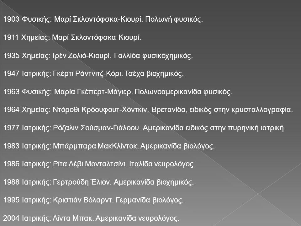 1903 Φυσικής: Μαρί Σκλοντόφσκα-Κιουρί. Πολωνή φυσικός. 1911 Χημείας: Μαρί Σκλοντόφσκα-Κιουρί. 1935 Χημείας: Ιρέν Ζολιό-Κιουρί. Γαλλίδα φυσικοχημικός.