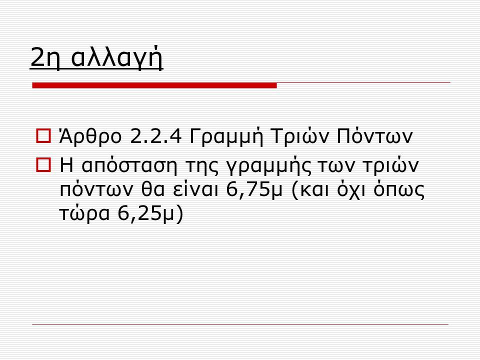 2η αλλαγή  Άρθρο 2.2.4 Γραμμή Τριών Πόντων  Η απόσταση της γραμμής των τριών πόντων θα είναι 6,75μ (και όχι όπως τώρα 6,25μ)