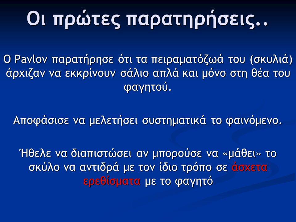 Κλασσική Εξαρτημένη Η κλασσική εξαρτημένη μάθηση (classical conditioned learning) μελετήθηκε για πρώτη φορά από το Ρώσο φυσιολόγο Ivan Pavlov.