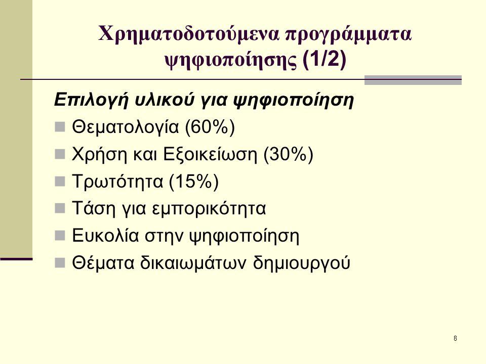 8 Χρηματοδοτούμενα προγράμματα ψηφιοποίησης (1/2) Επιλογή υλικού για ψηφιοποίηση Θεματολογία (60%) Χρήση και Εξοικείωση (30%) Τρωτότητα (15%) Τάση για