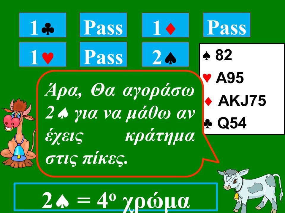 1 Pass 11 11 22 ♠ 82 ♥ A95  ΑKJ75 ♣ Q54 Άρα, Θα αγοράσω 2  για να μάθω αν έχεις κράτημα στις πίκες.