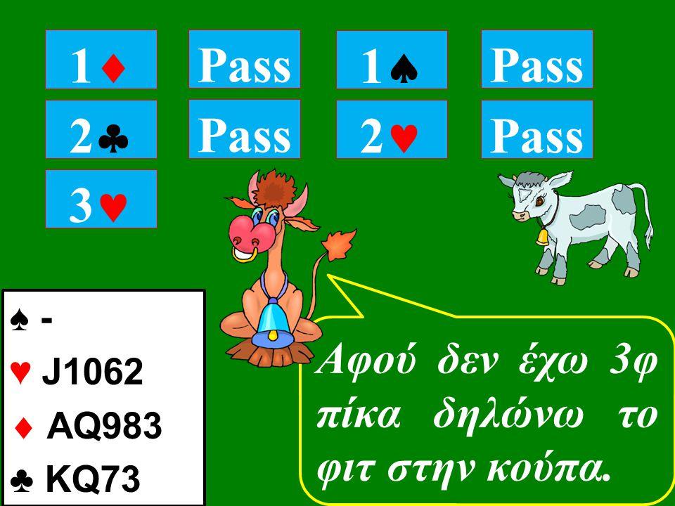 22 Τώρα που ξέρεις ότι έχω κούπες αποφάσισε ποια μανς θα παίξουμε 11 Pass 11 2 ♠ - ♥ J1062  AQ983 ♣ KQ73 Pass 3