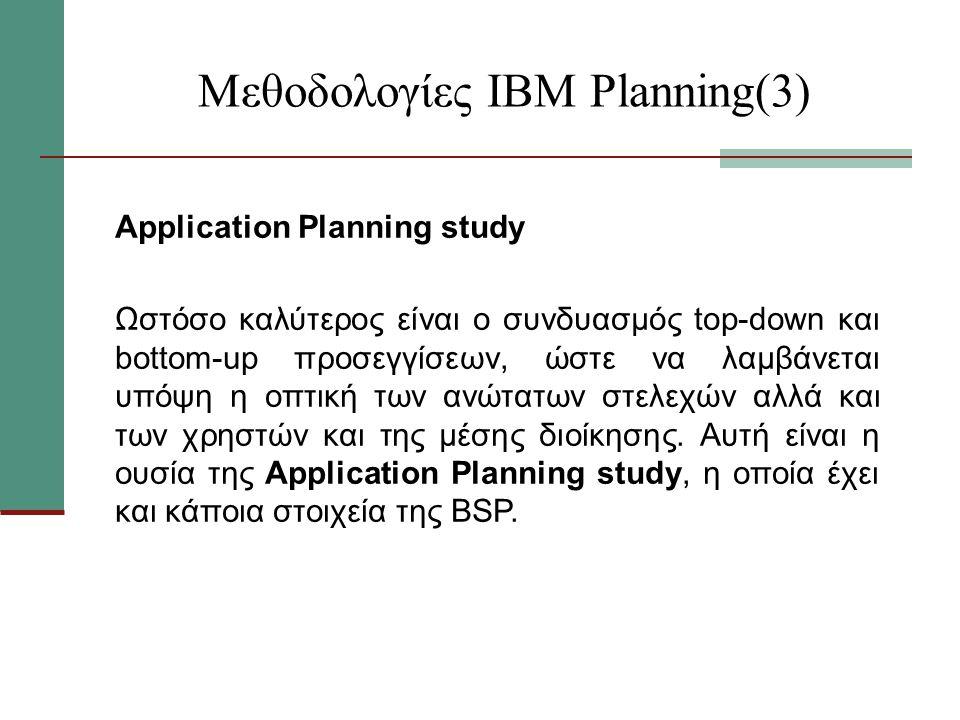 Μεθοδολογίες ΙΒΜ Planning(3) Application Planning study Ωστόσο καλύτερος είναι ο συνδυασμός top-down και bottom-up προσεγγίσεων, ώστε να λαμβάνεται υπόψη η οπτική των ανώτατων στελεχών αλλά και των χρηστών και της μέσης διοίκησης.