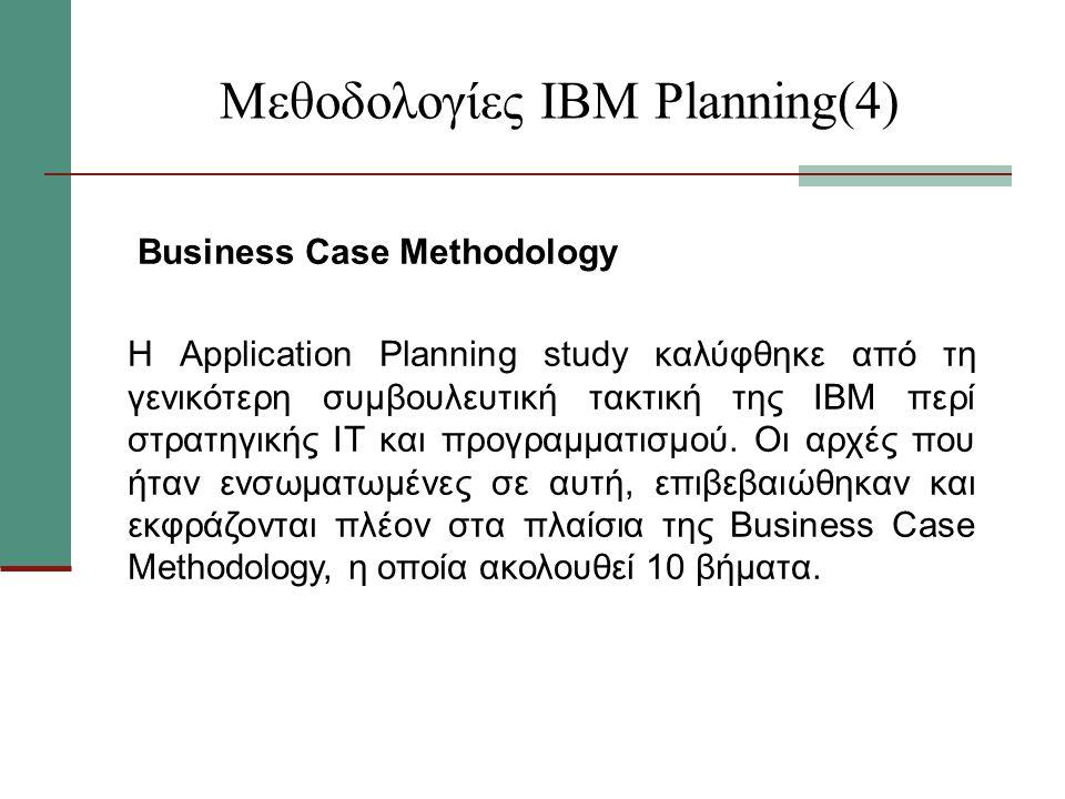 Μεθοδολογίες ΙΒΜ Planning(4) Business Case Methodology Η Application Planning study καλύφθηκε από τη γενικότερη συμβουλευτική τακτική της ΙΒΜ περί στρατηγικής ΙΤ και προγραμματισμού.