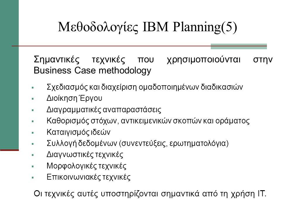 Μεθοδολογίες ΙΒΜ Planning(5) Σημαντικές τεχνικές που χρησιμοποιούνται στην Business Case methodology  Σχεδιασμός και διαχείριση ομαδοποιημένων διαδικασιών  Διοίκηση Έργου  Διαγραμματικές αναπαραστάσεις  Καθορισμός στόχων, αντικειμενικών σκοπών και οράματος  Καταιγισμός ιδεών  Συλλογή δεδομένων (συνεντεύξεις, ερωτηματολόγια)  Διαγνωστικές τεχνικές  Μορφολογικές τεχνικές  Επικοινωνιακές τεχνικές Οι τεχνικές αυτές υποστηρίζονται σημαντικά από τη χρήση ΙΤ.