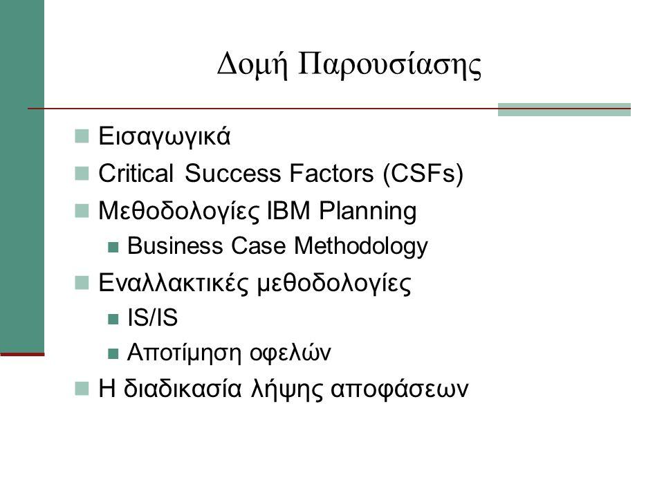 Δομή Παρουσίασης Εισαγωγικά Critical Success Factors (CSFs) Μεθοδολογίες IBM Planning Business Case Methodology Εναλλακτικές μεθοδολογίες ΙS/IS Αποτίμηση οφελών Η διαδικασία λήψης αποφάσεων