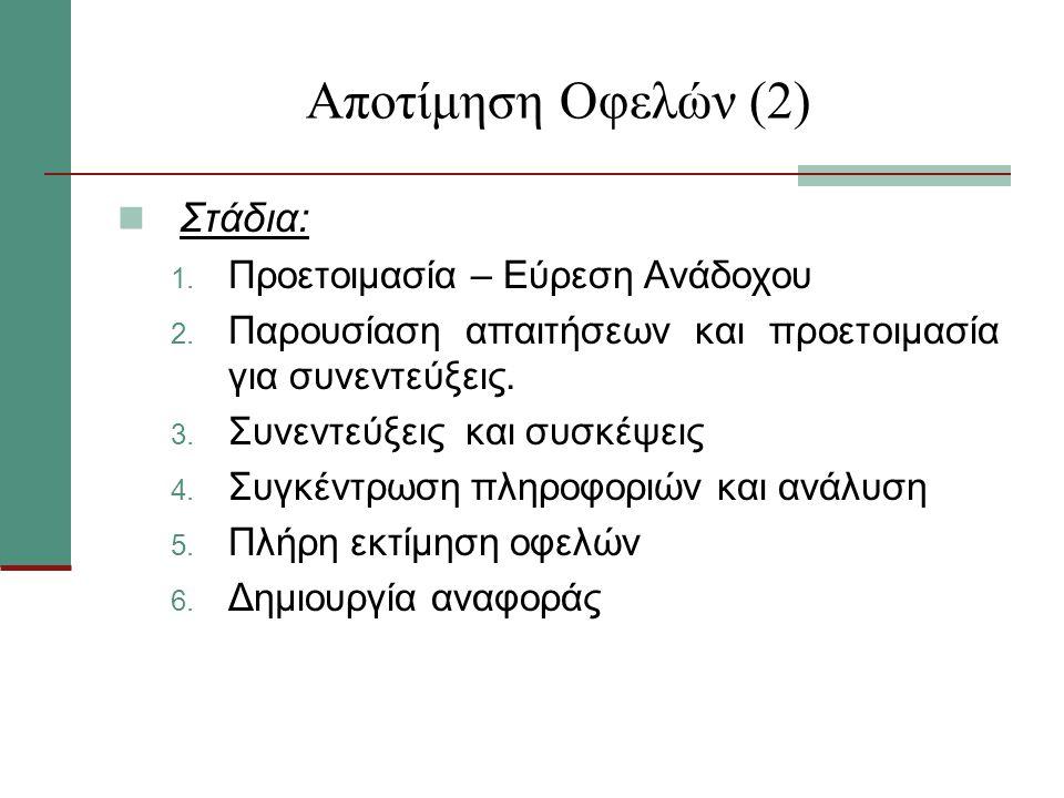 Αποτίμηση Οφελών (2) Στάδια: 1.Προετοιμασία – Εύρεση Ανάδοχου 2.