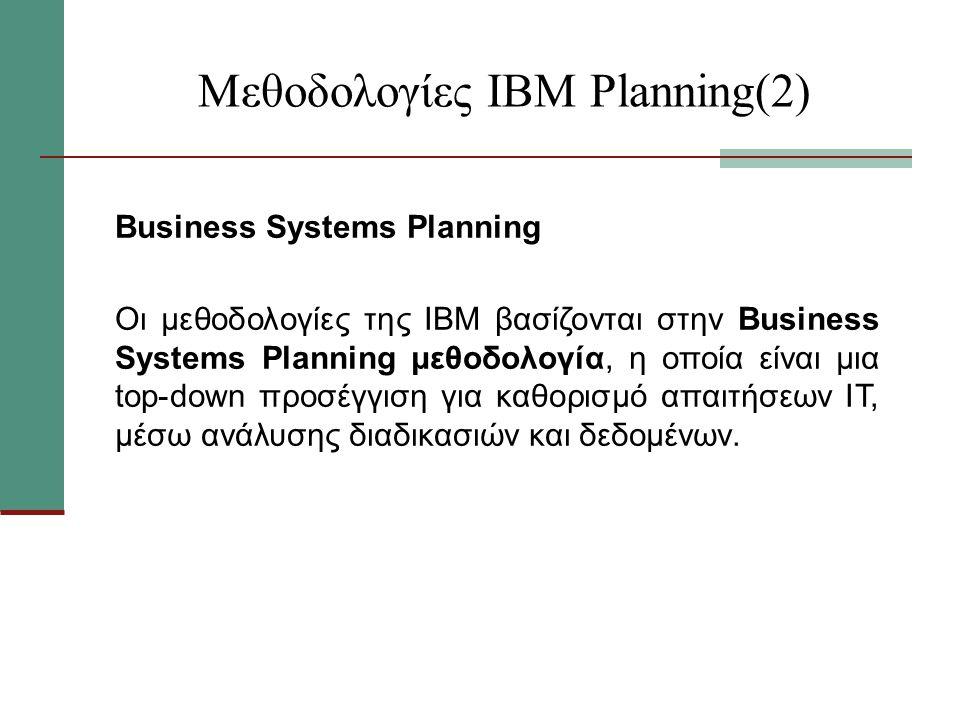 Μεθοδολογίες ΙΒΜ Planning(2) Business Systems Planning Οι μεθοδολογίες της ΙΒΜ βασίζονται στην Business Systems Planning μεθοδολογία, η οποία είναι μια top-down προσέγγιση για καθορισμό απαιτήσεων ΙΤ, μέσω ανάλυσης διαδικασιών και δεδομένων.
