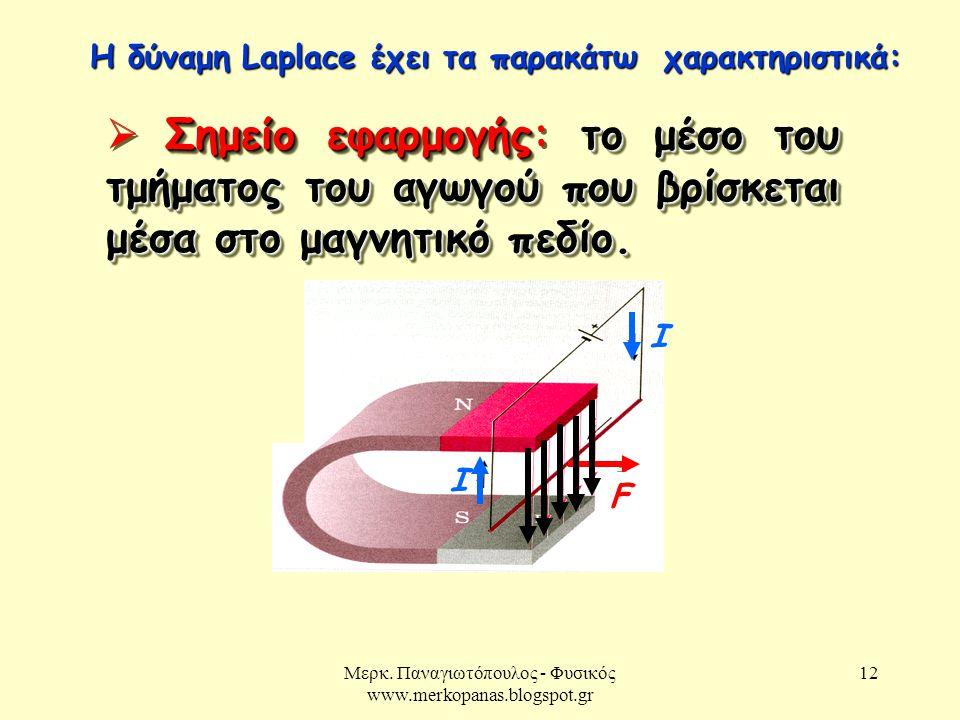Μερκ. Παναγιωτόπουλος - Φυσικός www.merkopanas.blogspot.gr 12 Σημείο εφαρμογήςτο μέσο του τμήματος του αγωγού που βρίσκεται μέσα στο μαγνητικό πεδίο.