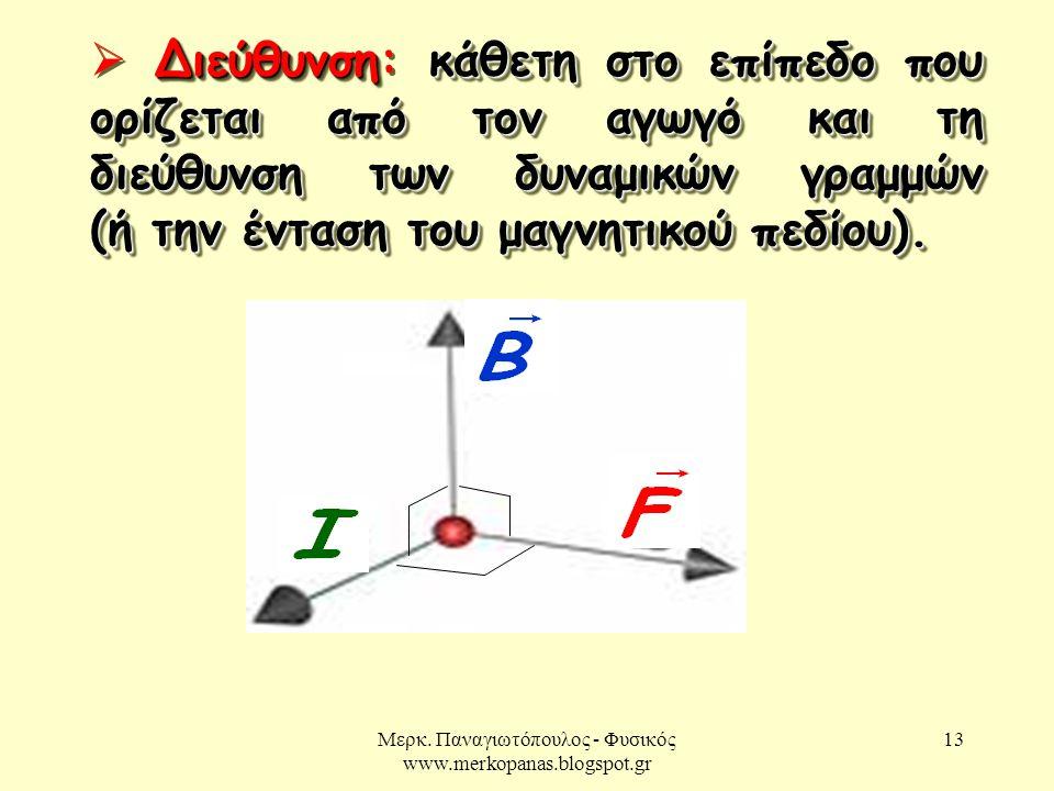 Μερκ. Παναγιωτόπουλος - Φυσικός www.merkopanas.blogspot.gr 13 Διεύθυνσηκάθετη στο επίπεδο που ορίζεται από τον αγωγό και τη διεύθυνση των δυναμικών γρ