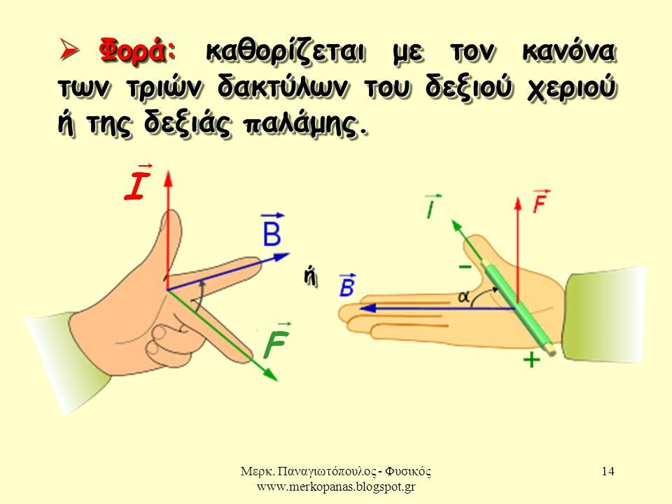 Μερκ. Παναγιωτόπουλος - Φυσικός www.merkopanas.blogspot.gr 14 Φοράκαθορίζεται με τον κανόνα των τριών δακτύλων του δεξιού χεριού ή της δεξιάς παλάμης.