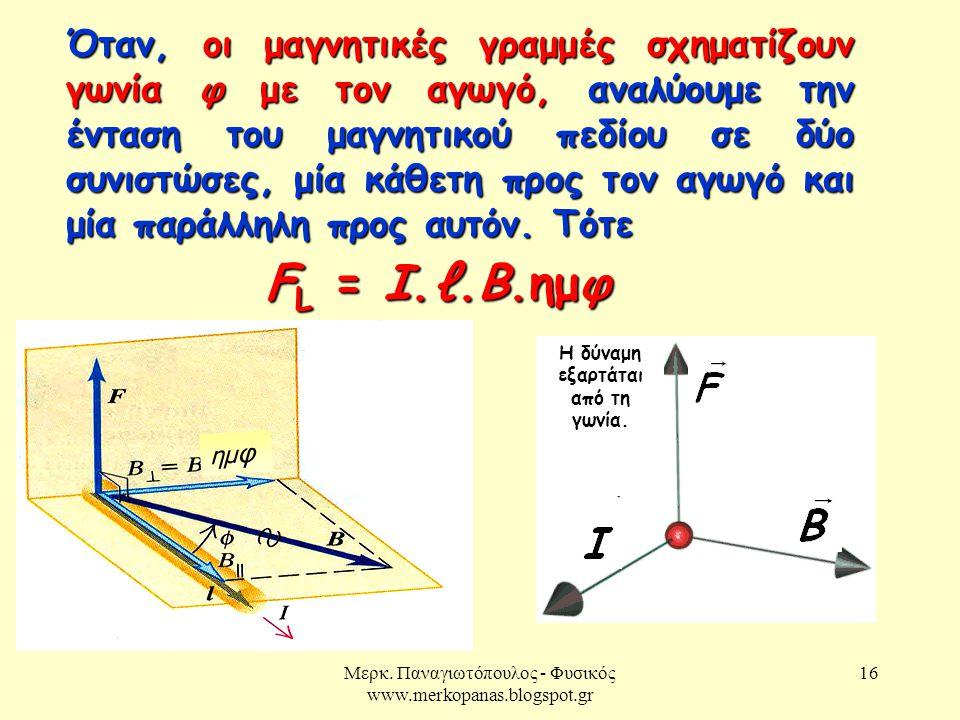 Μερκ. Παναγιωτόπουλος - Φυσικός www.merkopanas.blogspot.gr 16 Όταν, οι μαγνητικές γραμμές σχηματίζουν γωνία φ με τον αγωγό, αναλύουμε την ένταση του μ