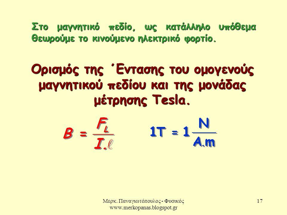Μερκ. Παναγιωτόπουλος - Φυσικός www.merkopanas.blogspot.gr 17 Ορισμός της ΄Εντασης του ομογενούς μαγνητικού πεδίου και της μονάδας μέτρησης Tesla. Στο