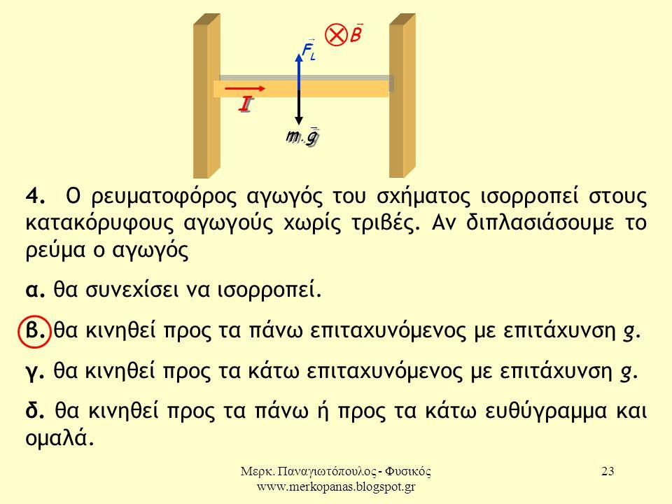 Μερκ. Παναγιωτόπουλος - Φυσικός www.merkopanas.blogspot.gr 23 4. Ο ρευματοφόρος αγωγός του σχήματος ισορροπεί στους κατακόρυφους αγωγούς χωρίς τριβές.
